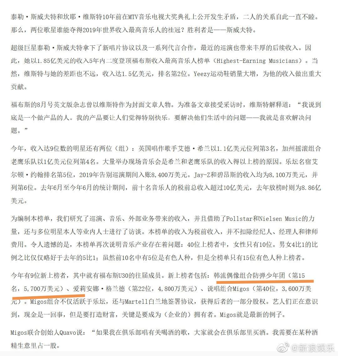 """防弹少年团新上榜福布斯""""2019收入最高音乐人"""""""