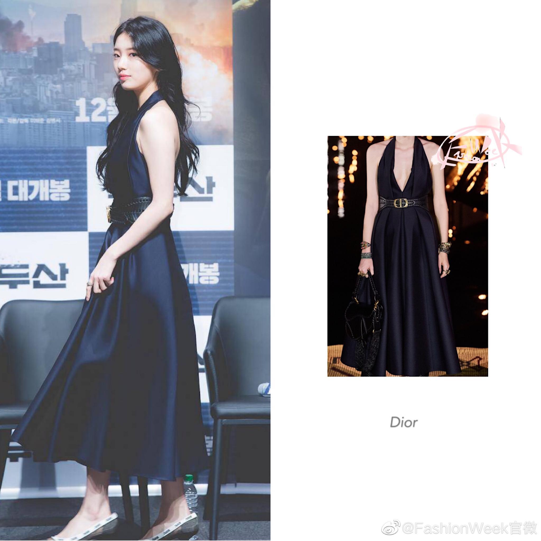 裴秀智|身穿Christian Dior露背长裙出席电影《长白山》制作发布会