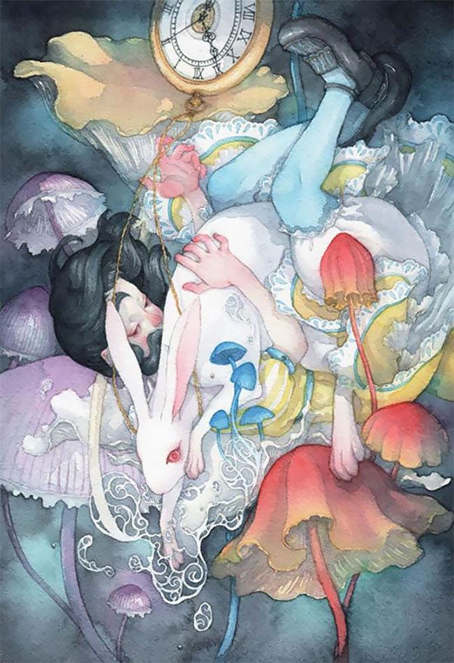 """用日本艺术再现""""爱丽丝梦游仙境""""日本水彩画家 Taupe Syuka"""