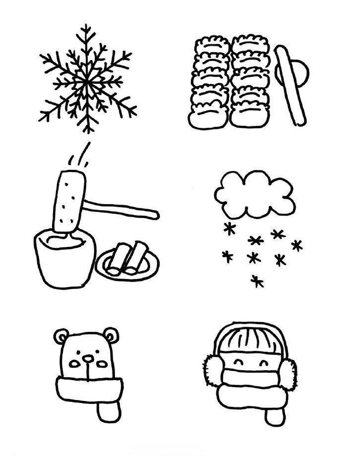 冬天春节主题简笔画手绘手帐素材,收藏了 by 教画画的沈老师