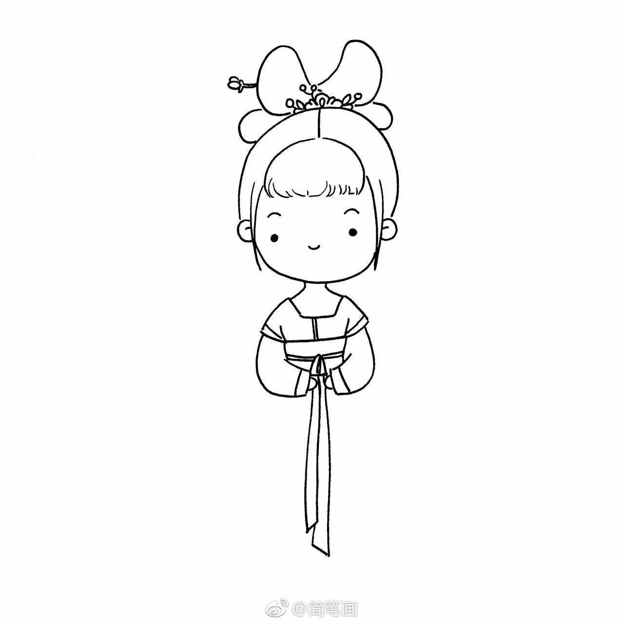 古风女孩简笔画教程~(投稿:@爱画画的橙子 )