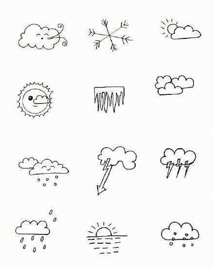上百个天气小素材简笔画,又可爱又简单.