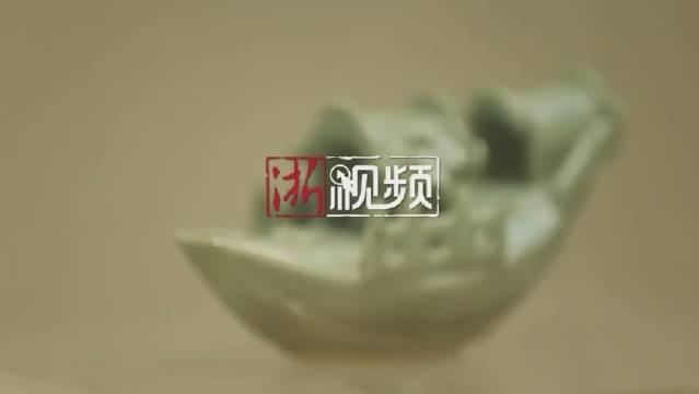 之龙泉窑青瓷舟形砚滴