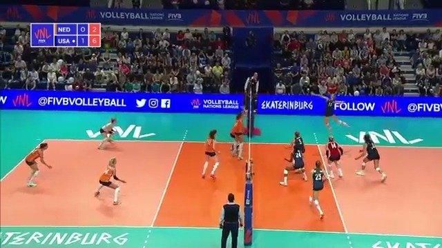 2019年世界女排联赛俄罗斯叶卡捷琳堡站,美国3-2荷兰,全场集锦