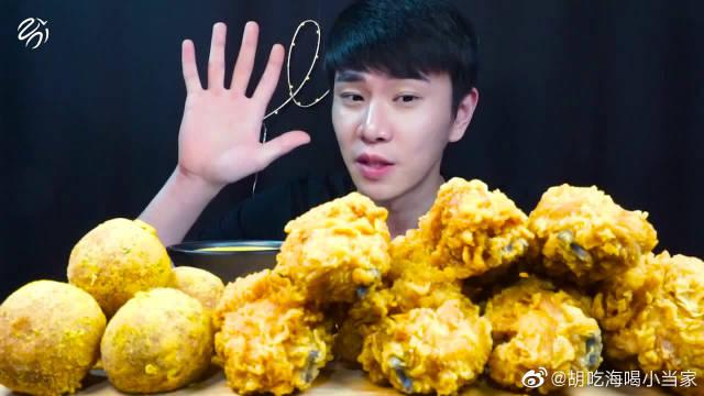 韩国小哥狂吃油炸食品,金黄酥脆的炸鸡腿光看着我就流口水了!