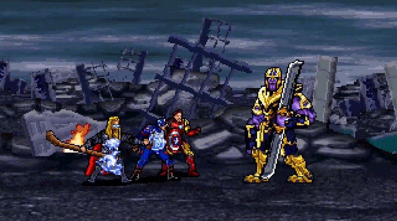 16位像素版《复联4》,用用街机游戏风格神还原终局之战,超酷!!