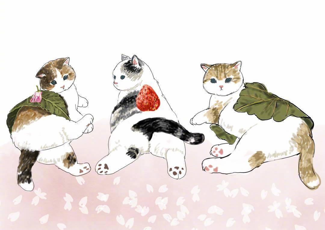 可爱猫咪绘画 日本插画家 mofu_sand