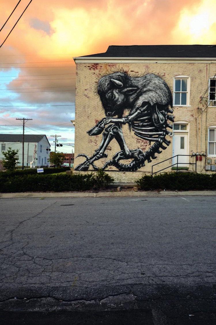 比利时匿名街头艺术家ROA 的巨幅单色动物街头壁画