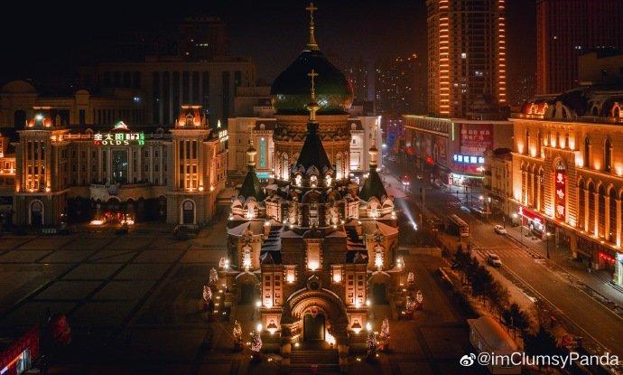 夜幕下的索菲亚教堂 使用 Mavic 2 Pro 拍摄 哈尔滨·