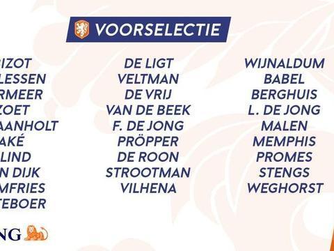 荷兰欧预赛初选大名单:范迪克领衔,德容、德里赫特在列