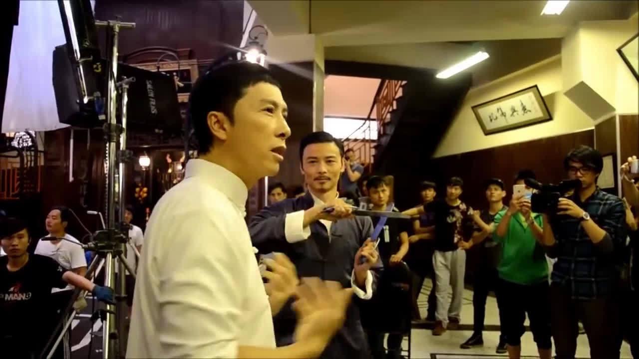 《叶问3》咏春大战拍摄现场  与  对八斩刀意外受伤