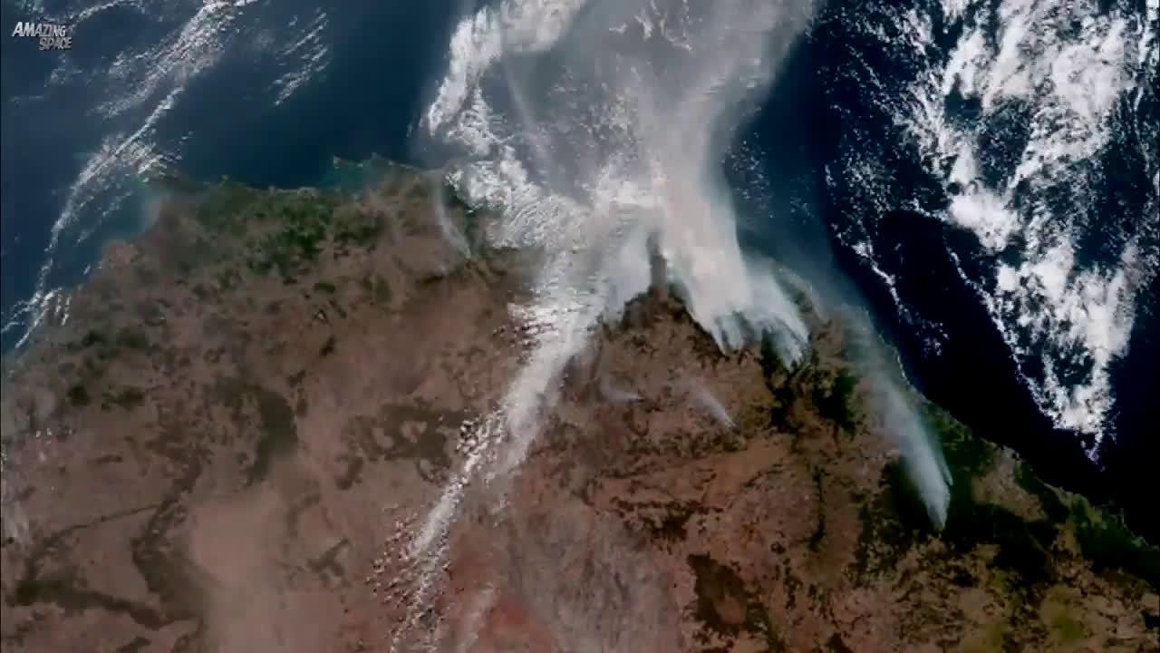 不一样的视角,从太空看到的澳大利亚丛林大火,让人胆战心惊