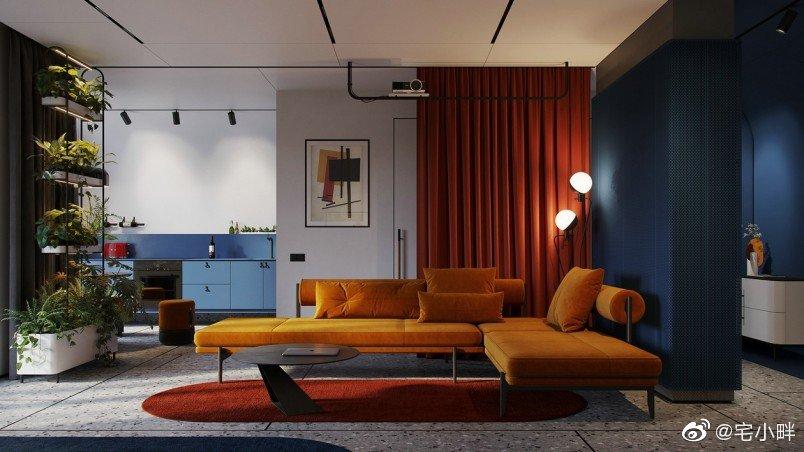 红黄蓝,个性色彩公寓设计,时髦又好看~