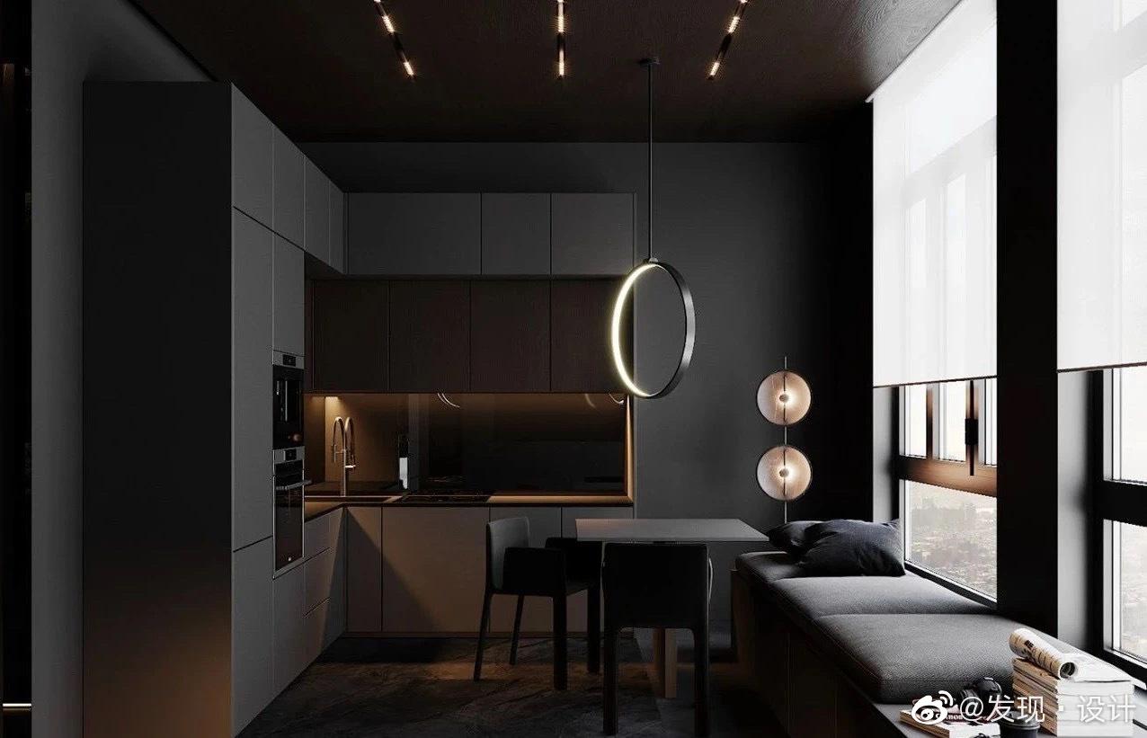 Dark grey apartment高级黑  现代的黑色家居有着强烈的个人风格表
