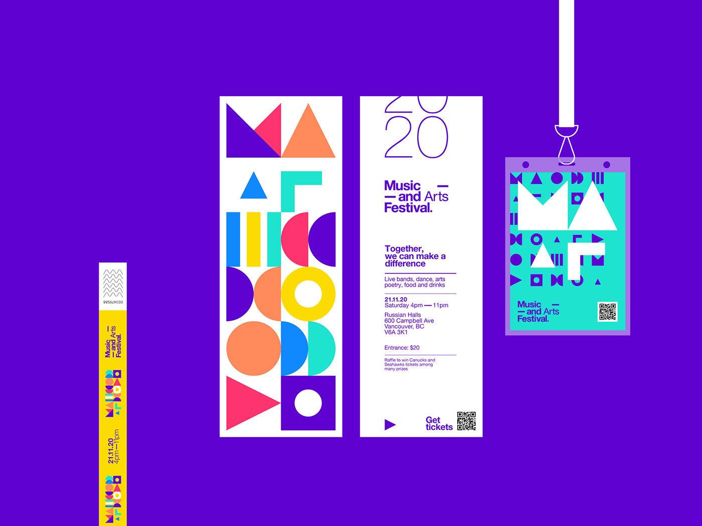 抽象的几何图案和时尚的色彩 音乐艺术节品牌视觉设计