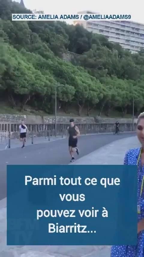 一名澳国记者在法国比亚里茨跟踪G7,路边偶遇在晨练的总理特鲁多。