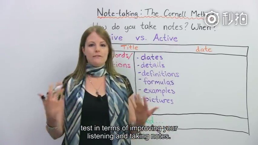 英文视频:康奈尔笔记法——最有效的记笔记大法