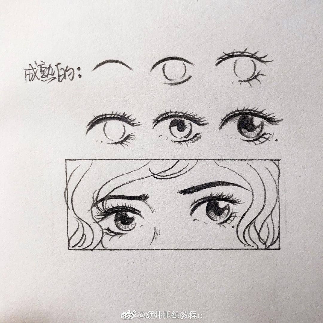 画了六组手绘动漫卡通人物眼睛画法教程步骤图~作者:糖水桃momoko