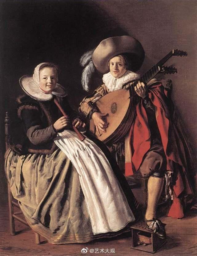 欧洲古代社交生活   荷兰画家莫莱纳古典风俗油画欣赏