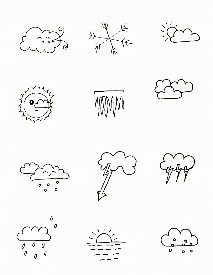 各种天气简笔画的小素材,需要的mark图片