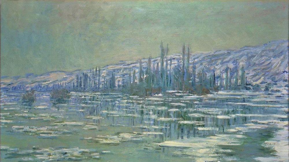 """印象派大师莫奈,""""塞纳河上的浮冰"""""""