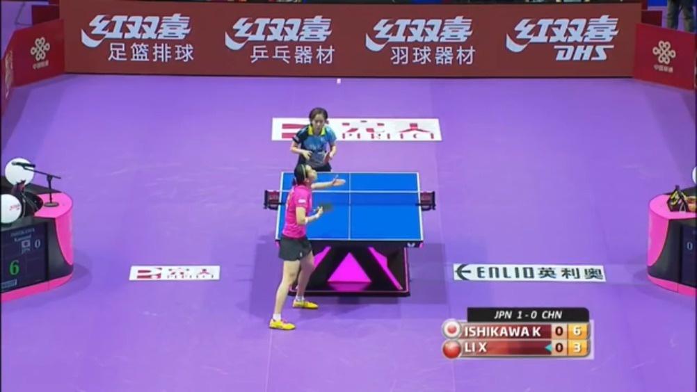 2016年世乒赛团体赛,李晓霞VS石川佳纯。