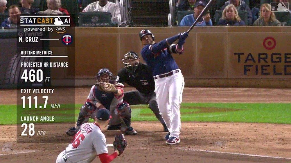 尼尔森-克鲁兹(Nelson Cruz)直击中外野,460英呎大号本垒打