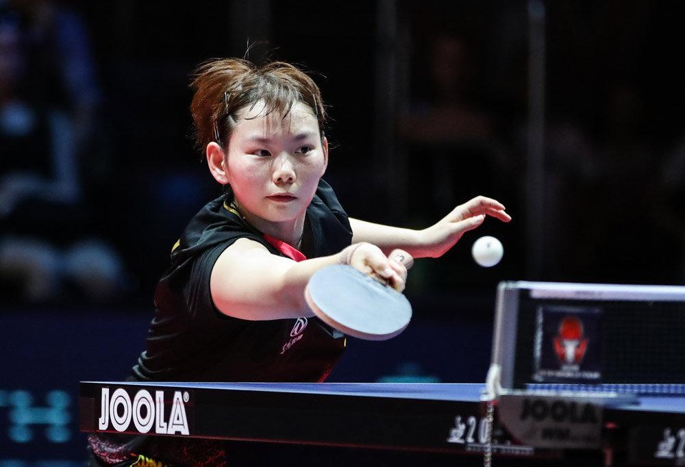 在捷克奥洛穆茨举行的2019年国际乒联捷克公开赛女单四分之一决赛中