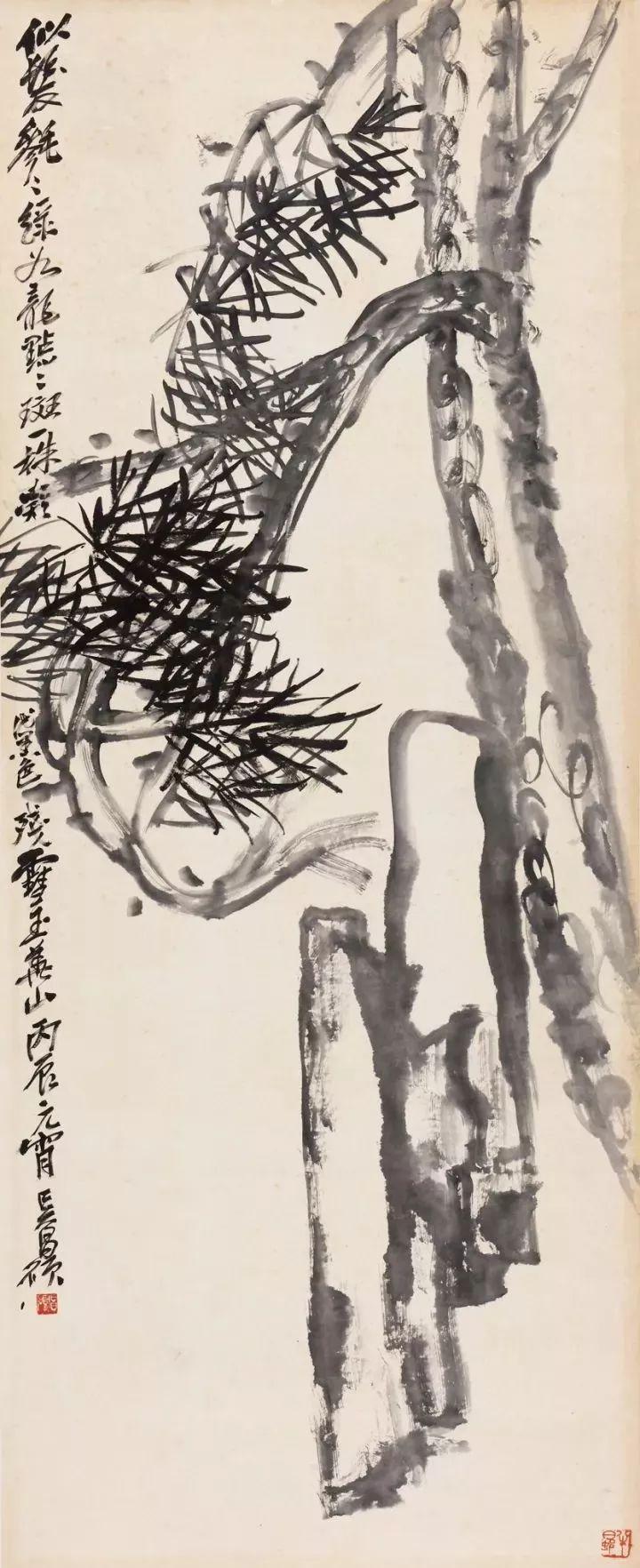 吴昌硕的画曲线直线交汇,浓淡配比,统一中见独立