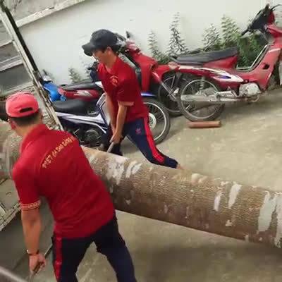 一棵大树,在雕刻师的精心制作下,成为一尊观音佛像。