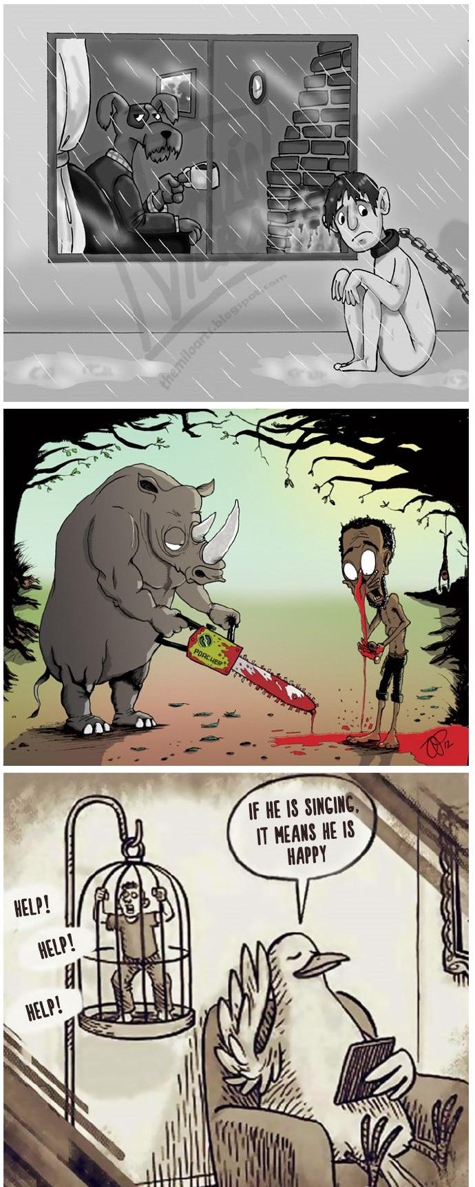 如果人和动物的角色互换,会怎么样呢?