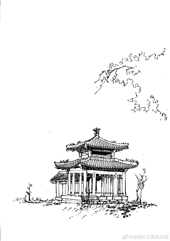 榆林地标风景手绘