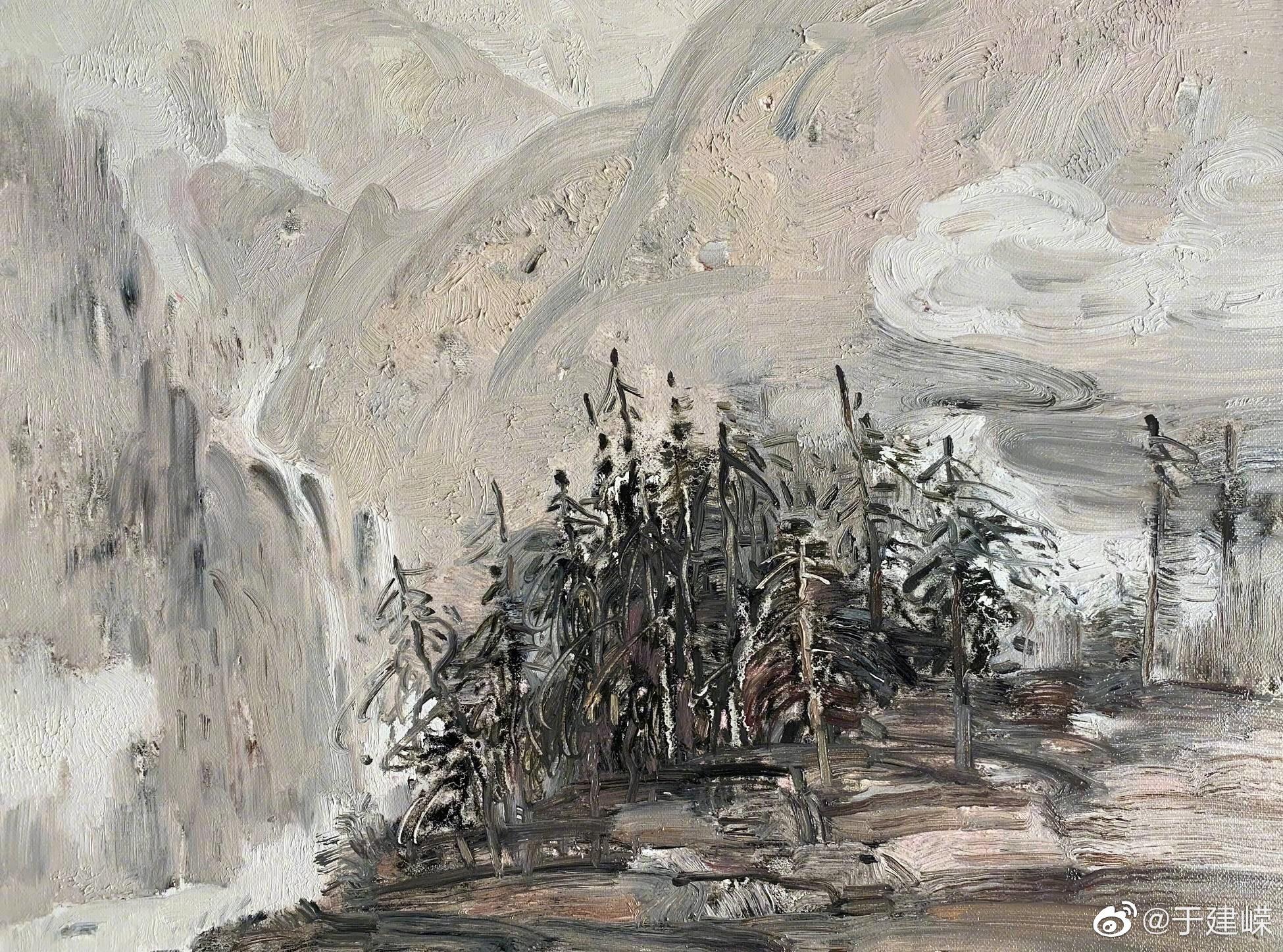 中国美协会员、著名油画家吴建陵教授油画作品——《大山故事》