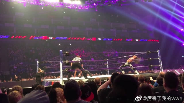粉丝视角现场版WWE摔角,老中医中邑真辅致命飞膝重创道夫齐格勒!