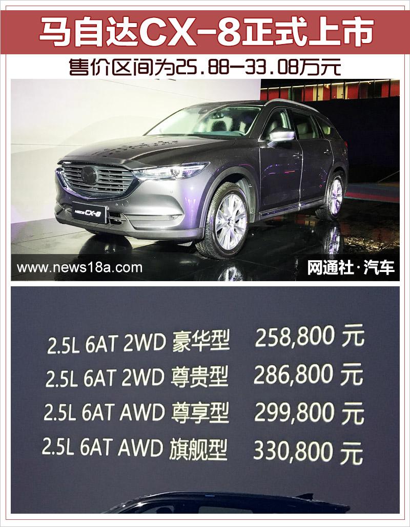 马自达CX-8正式上市 售价区间为25.88-33.08万元