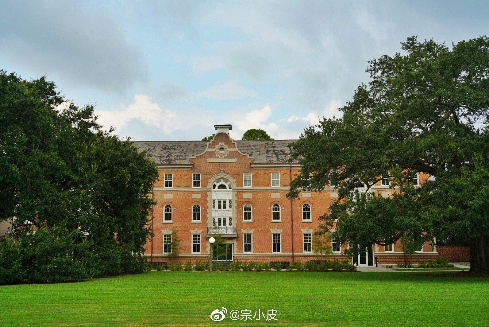 新奥尔良杜兰大学以及对面的公园,到处都是大草坪和大橡树