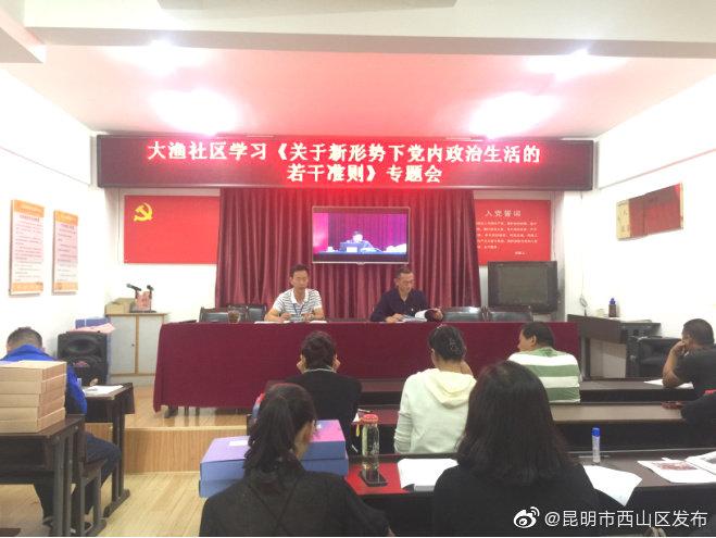 大渔社区学习《关于新形势下党内政治生活的若干准则》《中国共产党纪