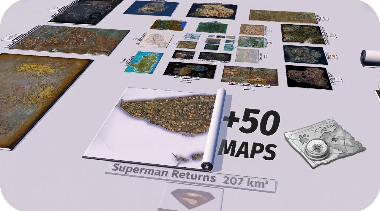 油管频道 RED SIDE 梳理整理了50多款游戏的地图面积数据