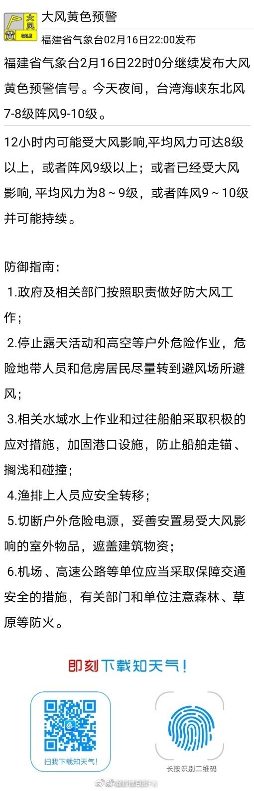 福建省气象台2月16日22时0分继续发布大风黄色预警信号。今天夜间