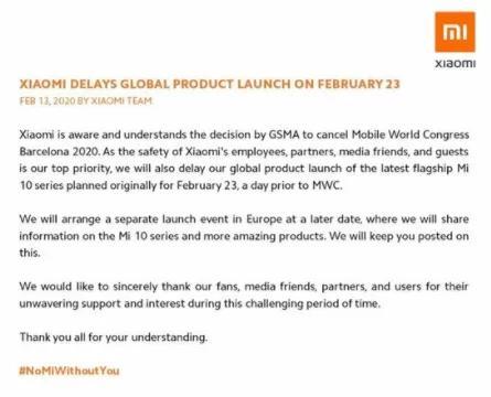 小米10系列国际版将延期发布