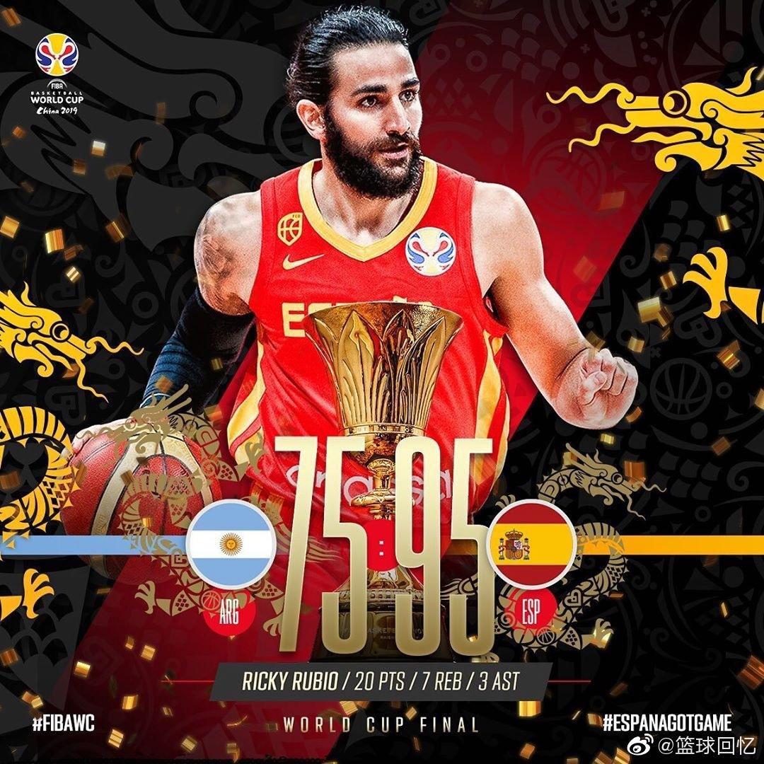 2019年篮球世界杯决赛,西班牙男篮以95-75大胜阿根廷