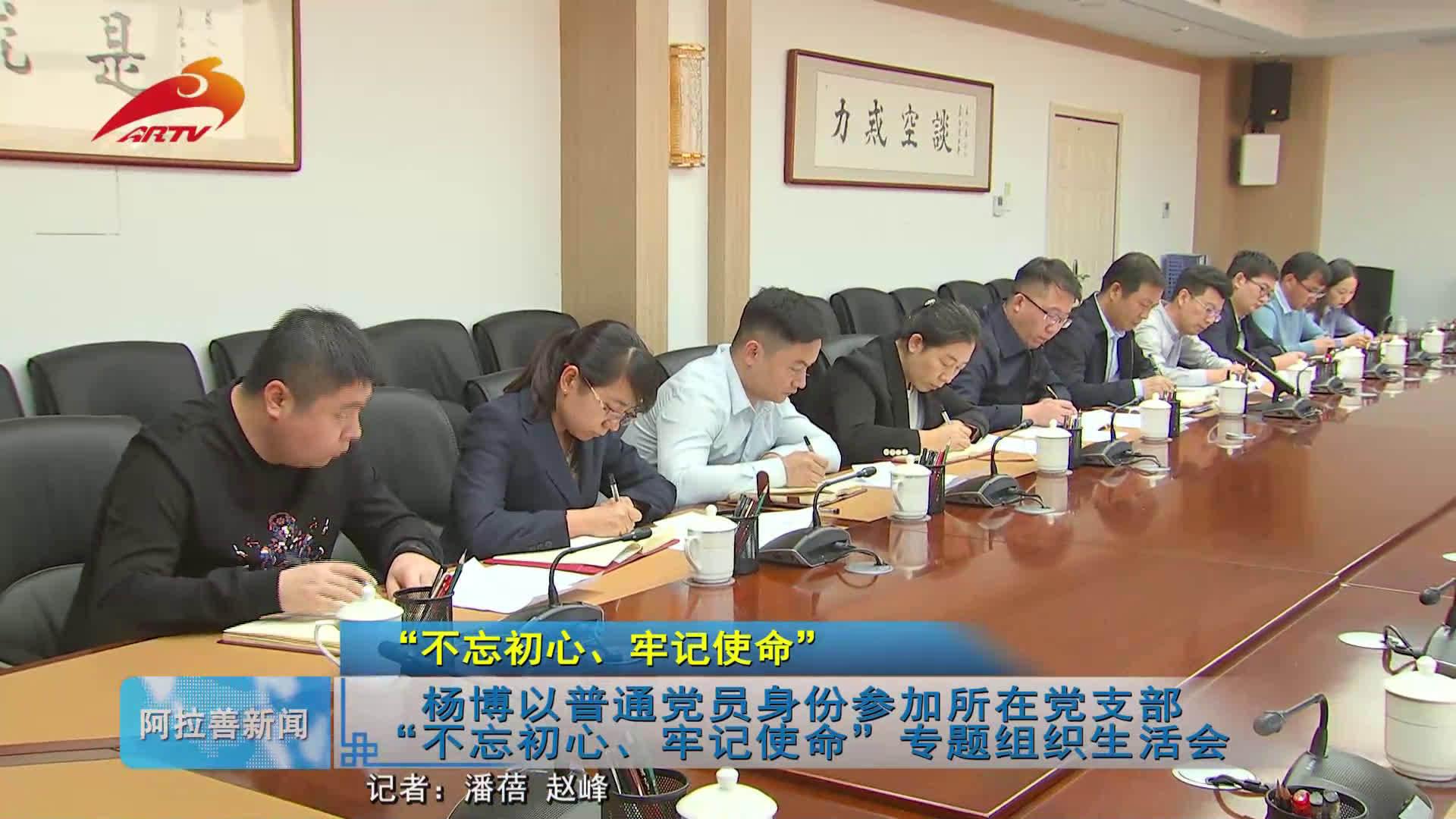 """杨博以普通党员身份参加所在党支部""""不忘初心、牢记使命""""专题组织生"""