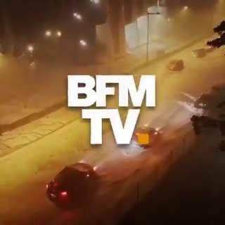 昨晚南部城市图卢兹突然遇到风暴,大风大雨袭击该市