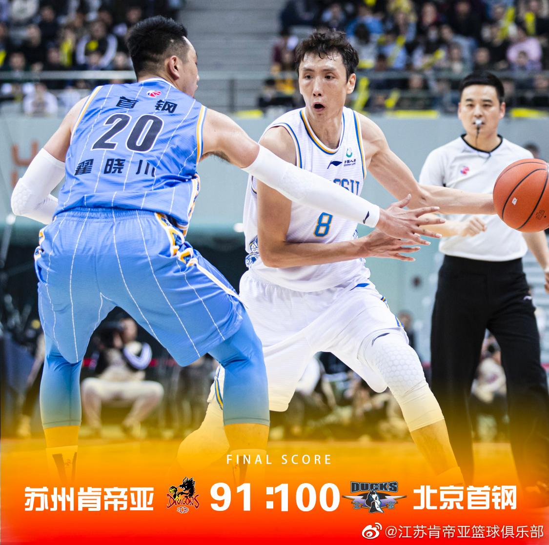 全场比赛结束,苏州肯帝亚91比100不敌北京首钢。全场比赛