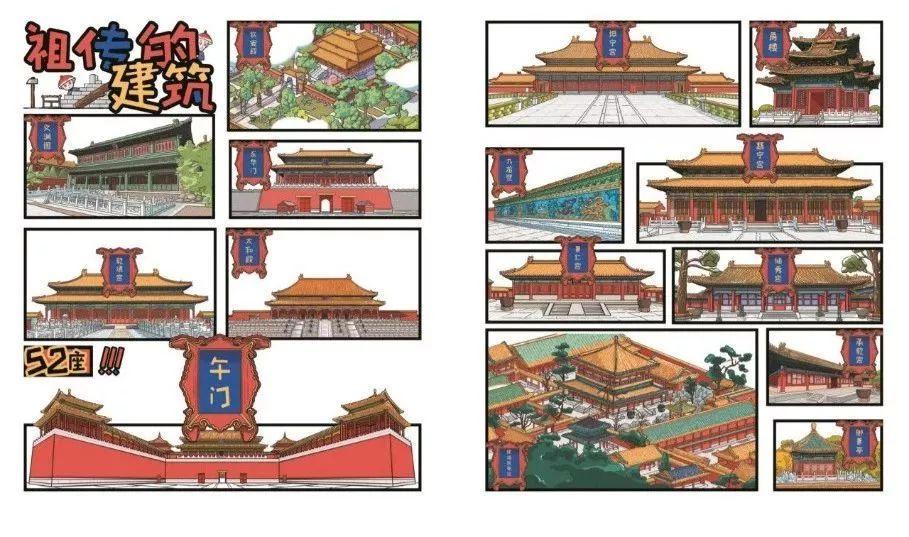 將830幅手繪故宮原景大圖,52座故宮建筑,48個傳統習俗,115件故宮珍寶