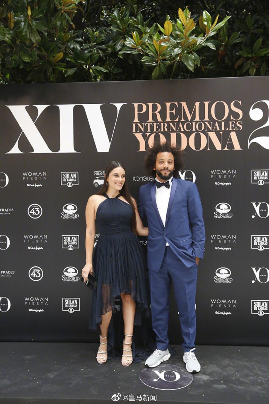 马塞洛跟妻子参加活动。