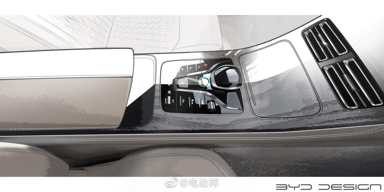 比亚迪今天公布了HC车型内饰设计的原型手稿