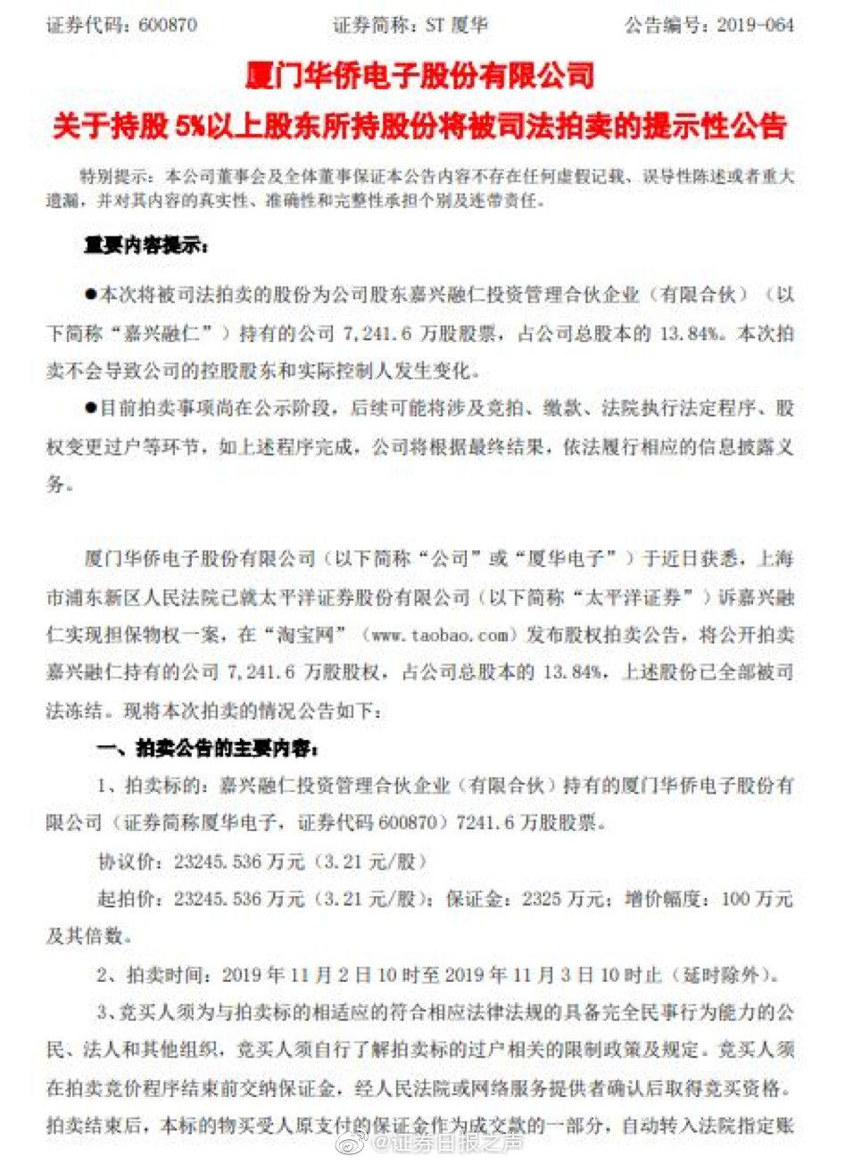 ST厦华:嘉兴融仁所持公司13.84%股权将被司法拍卖
