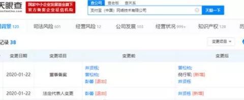 彭蕾卸任支付宝法人代表和董事, 井贤栋倪行军接任