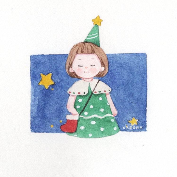 圣诞小头像 投稿@水晶爱画画